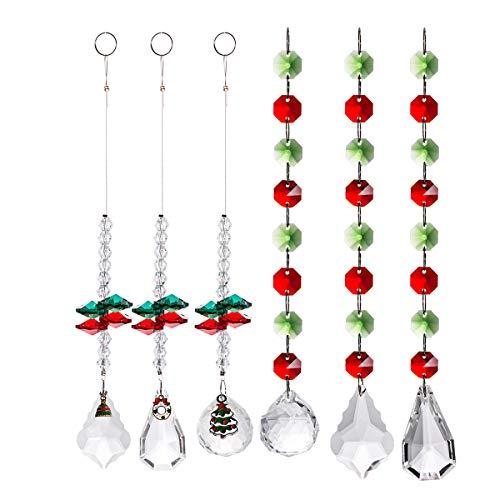 Chandelier Octogon Suncatchers Christmas Hanging Ornament Glass Prisms Ball Pendants,Teardrop Shaped Prisms for Wedding,Plants,Cars,Plant,Window Decor(6 of Pack)