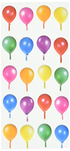 Paper House Productions STP-0039E Birthday Balloons Puffy Stickers (3-Pack) (Scrapbooking Stickers Balloons)