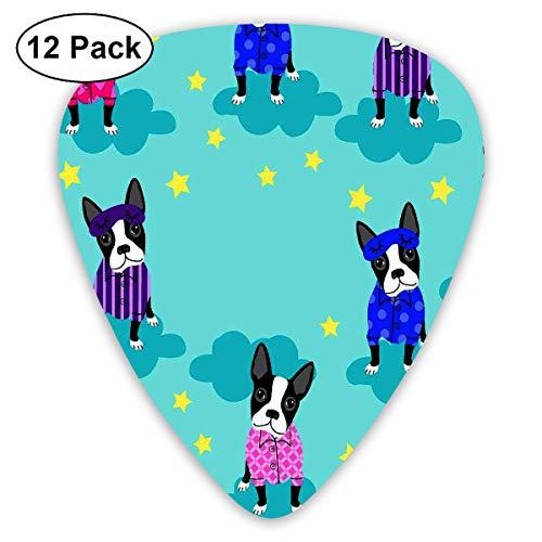 HAIDILUN Boston Terriers Tile Bull Dog Pattern Guitar Picks Plectrums Acoustic Guitar Ukulele Picks 0.46 Mm, 0.73mm, 0.96 Mm,12 Pack