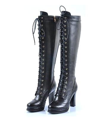 deb71aa66e18d3 Sheepskin Ladies Retro Real Leather Lace Up Block Heel Knee High Wemen  Boots (UK-size-5, Black): Amazon.co.uk: Shoes & Bags