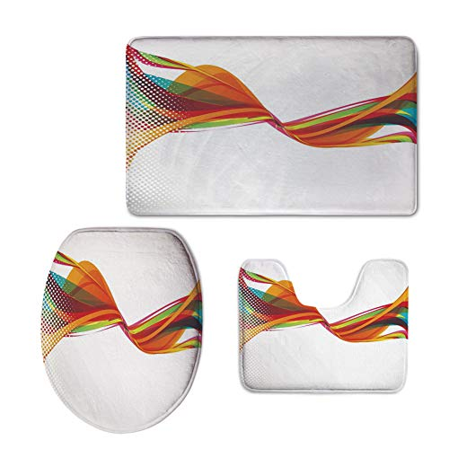 New Wave Modern Cabinet - Fashion 3D Baseball Printed,Abstract,Rainbow Curved Wave Smoke Like Image with Pixel Style Detailed Work of Art Print Decorative,Multicolor,U-Shaped Toilet Mat+Area Rug+Toilet Lid Covers 3PCS/Set