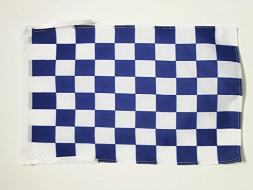 AZ FLAG Blue and White Check Flag 18'' x 12'' Cords - Checkered Racing Small Flags 30 x 45cm - Banner 18x12 -