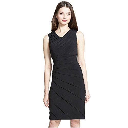 Adrianna Papell V-Neck Shutter Pleat Sheath Dress, Black, 4