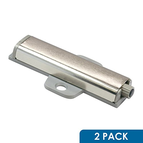 2 Pack Rok Hardware Slim Brushed Nickel Drawer Cabinet Door Cross Push Touch Latch Kitchen (Push Latch)