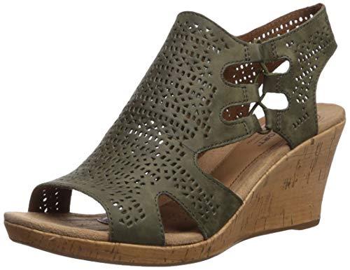 Nubuck Green (Cobb Hill Women's Janna Perf Boot Sandal, Green Nubuck, 090 M US)
