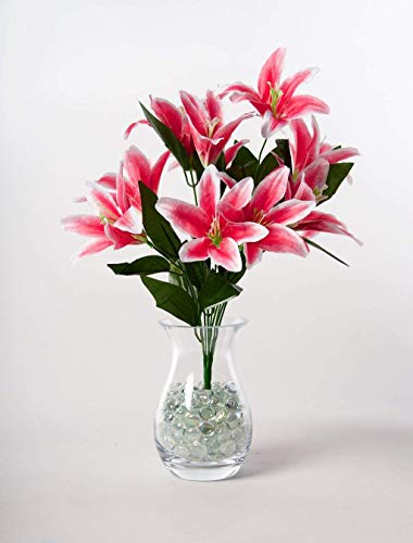 Maylife 45cm Stargazer Lillies 10 Head Flower lily Spray Bunch (Dark Pink)