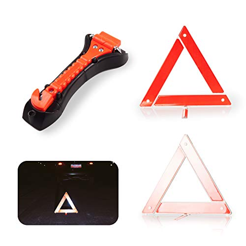 Safety Kit for Car - Warning Triangle Foldable Safety Triple Warning Kit Reflector Roadside Hazard Sign Triangle Symbol + Emergency Hammer
