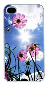 High Quality Fashion White PC Case for iPhone 4 Generation Back Cover Case for iPhone 4S with Beautiful Flower