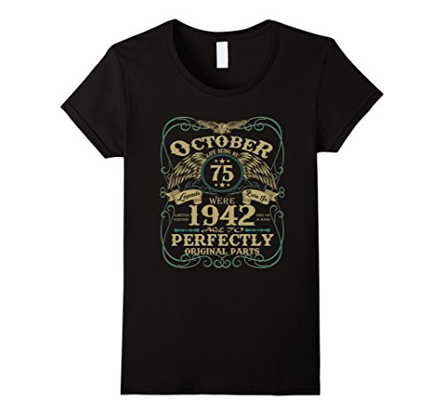 Womens Legend October 1942 Vintage Gift Ideas 75th Birthday T-Shirt Large Black (75th Birthday Ideas)