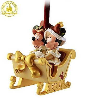 disney victorian minnie and mickey mouse sleigh christmas ornament disney theme parks exclusive limited - Mickey Mouse Christmas Ornaments