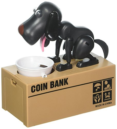 Puppy Dog Hungry Coin Bank Eating Munching Money Box black