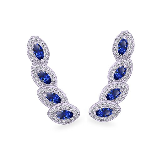 - Sterling Silver Created Blue Sapphire & White Topaz Marquise Halo Climber Crawler Earrings