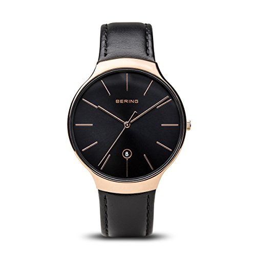 BERING Time 13338-462 Unisex Classic Collection Watch with Calfskin Strap and scratch resistent sapphire crystal. Designed in Denmark