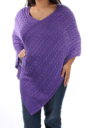 (Lauren Ralph Lauren Women's Cable Knit Poncho Sweater (XX-Small / X-Small, Lilac))