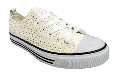 Shop Pretty Girl Women's Sneakers Casual Canvas Shoes Solid Colors Low Top Lace up Flat Fashion White Perforated Pu
