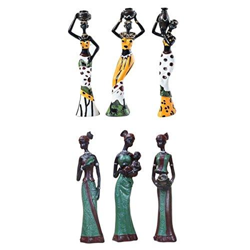 Baoblaze Estatua Tribal de Figura de Africanas Dama Arte de Resina Decoración de Casa de Oficina - Amarillo + Verde, 6...