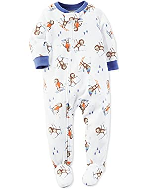 Carter's Baby Boys Skiing Monkey One Piece Footed Fleece Pajama - 24 Months