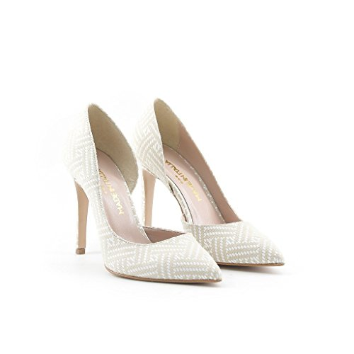 pour BEIGE Italia Escarpin Marron femme Made BIANCO AMINA in Brun qApxHt