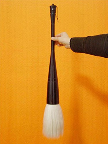 Chinese Calligraphy Big Brush Black-oxhorn-Pole Length 70cm Diameter 60mm White Horse Mane Available (Black-White, 70cm Length 60mm Diameter)