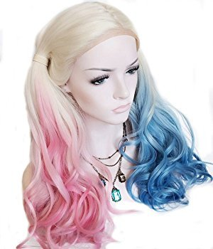 (Princesswig Comic Harley Quinn Synthetic Lace Front Wig Mixed Color Blue and Pink Ombre Color Long Wavy)
