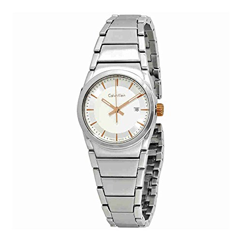 Calvin Klein Step Damenuhr Ladies Stainless Steel White Dial Watch (Calvin Klein Womens White Dial)
