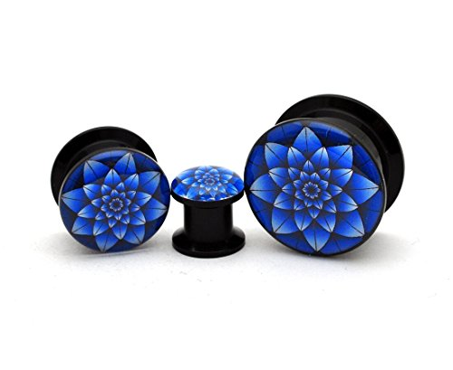 Black Acrylic Blue Lotus Picture Plugs - Sold as a Pair (0g (8mm))