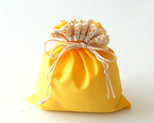 the Sunshine Bag - Set of 3 Gift Bags for all Celebrations - Tie Strings Pouch - Wedding Table Decoration - Little Surprise - Yellow Cotton Fabric with Cotton Lace - Handmade Decor Party Favors for $<!--$5.80-->