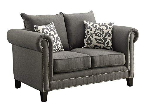 Coaster Home Furnishings Emerson Rolled Arm Loveseat with Pewter Nailheads Charcoal