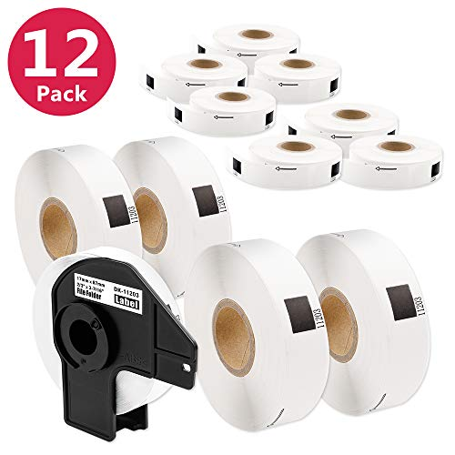 12 Rolls File Folder Labels DK-1203 2/3 x 3-7/16 inch with 1 Reusable Cartridge for Printer QL 570 QL700 QL-500 QL-500A QL-1050