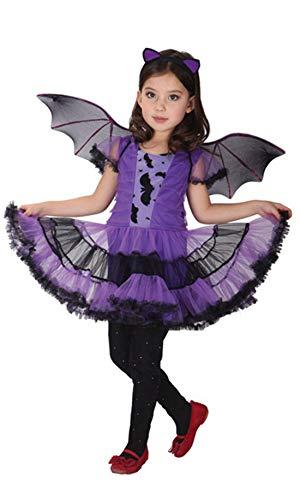 stylesilove Adorable Little Girls Halloween Costume Party Cosplay Dress (M/4-6 Years, Purple Batgirl)