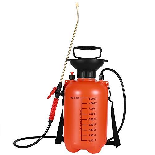 Moutik Garden Sprayer, Pressure Portable Sprayer 1.3 Gal Hand Held Compression Sprayer with Shoulder Strap for Fertilizers Mild Cleaning ()