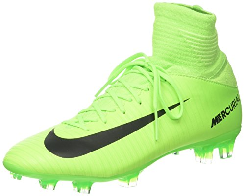 NIKE Kids Mercurial Superfly V FG Electric Green/Black/Flash Lime Soccer Shoes - 4Y