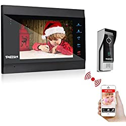 TMEZON 7 Inch Wireless/Wired Wifi IP Video Door Phone Doorbell Intercom Entry System with 1x1200TVL Wired Camera Night Vision,Support Remote unlocking,Recording,Snapshot
