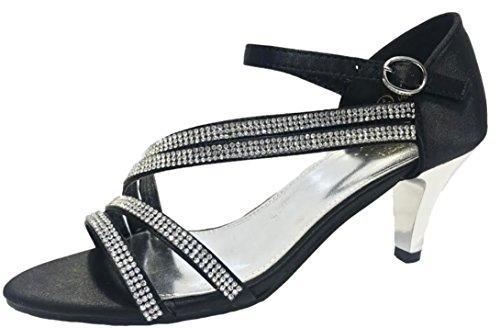 Ubershoes Femme Satiné Noir pour Sandales vYqp4