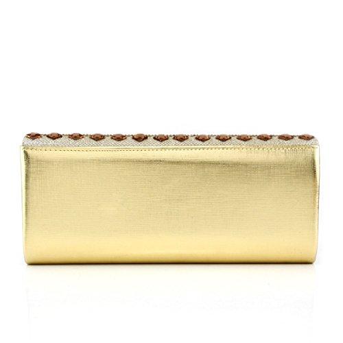 Bolso De Lady Diamond Paquete De Banquete Nueva Chica Mensajero Gold