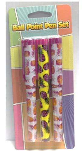 3 Piece Pineapple Design Novelty Ball Point Pen Set