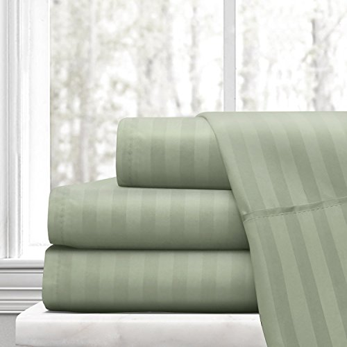 Beckham Hotel Collection Luxury Soft Brushed Microfiber 4-Piece Striped Sheet Set - Hypoallergenic & Stain Resistant with Embossed Stripes -Twin - (Stripe Sage Green)