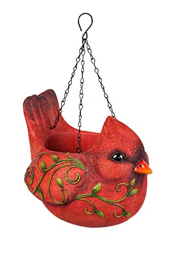 New Creative Adorable Hanging Portly Bird Red Cardinal Polystone Planter 10 x 6 x 7.6 inches