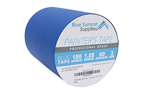 3 Pack 1.88'' Blue Painters Tape, medium adhesive that sticks well but leaves no residue behind, 60 yards Length, 3 Rolls, 180 Total Yards by Blue Summit Supplies (Image #1)