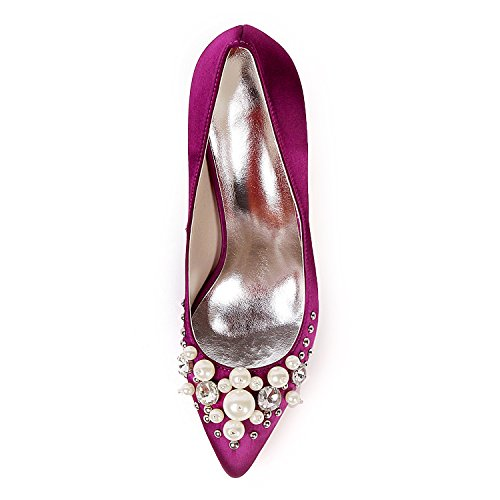 Closed Femmes Toe Ager Chaussures Flower Satin 01F Red 0608 UK2 D'orsay EU35 Strass Mariage Nuptiale wBFqYT