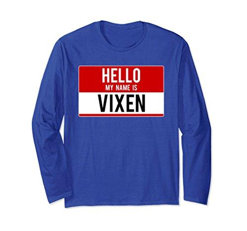 Unisex Hello My Name Is Vixen Christmas Group Reindeer T-Shirt 2XL Royal (Vixen Reindeer Costumes)