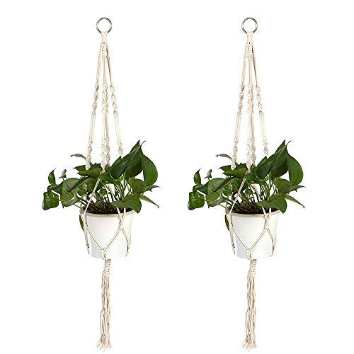 Macrame Plant Hanger, stshell 2 Pack 39 Inch Flower Pot Plant Holder, Cotton Rope Hanging Plant Holder with Ring, Indoor Outdoor Home Decor