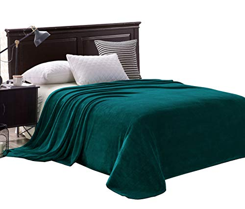 Exclusivo Mezcla Luxury Queen Size Flannel Velvet Plush Solid Bed Blanket as Bedspread/Coverlet/Bed Cover (90 x 90, Teal) - Soft, Lightweight, Warm and Cozy