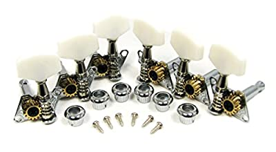 Chrome Open-gear Guitar Tuners/Machine Heads - 6-piece 3 Left / 3 Right Alignment from C. B. Gitty Crafter Supply