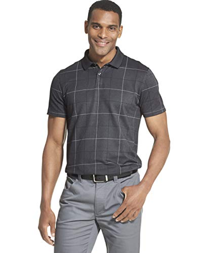 (Van Heusen Men's Flex Short Sleeve Stretch Windowpane Polo Shirt, Black, Small)