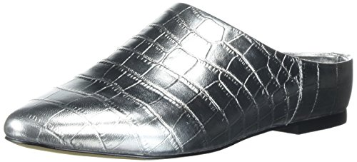 (Amazon Brand - The Fix Women's Diem Pointed Toe Slide Mule, Silver Croco, 10 Medium US)