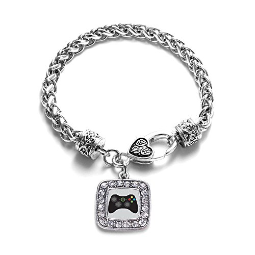 Gamer-Girl-Gaming-Classic-Silver-Plated-Square-Crystal-Charm-Bracelet