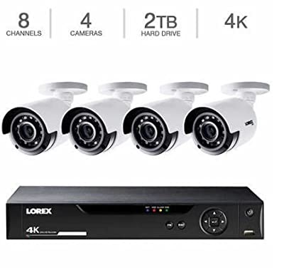 Lorex LHV5100 Series 8-Channel 4K UHD DVR Bundle with 1TB HDD and 4X LBV8531B 4K UHD Network Bullet Cameras with 135' Night Vision, H.264+ from Lorex