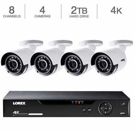 Lorex 8-Channel, 4-Camera Indoor/Outdoor Wired 4K 1TB DVR Security System LHV51081T4KB