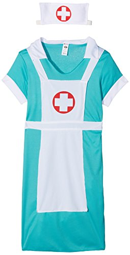 [Smiffy's Women's Scrub Nurse Costume, Dress, Mock Apron and Headpiece, Accident and Emergency, Serious Fun, Size 6-8,] (Womens Nurse Halloween Costumes)